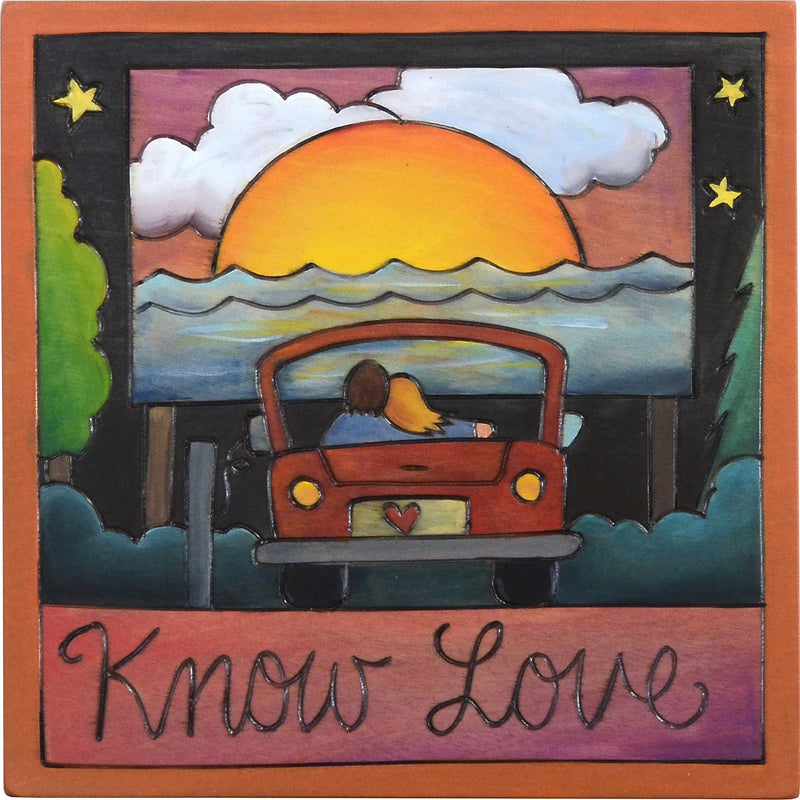 "Sticks handmade wall plaque with ""Know Love"" quote and drive in movie theme"