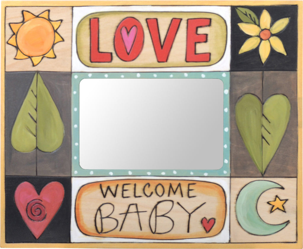 "Sticks handmade 5x7"" picture frame with baby design"