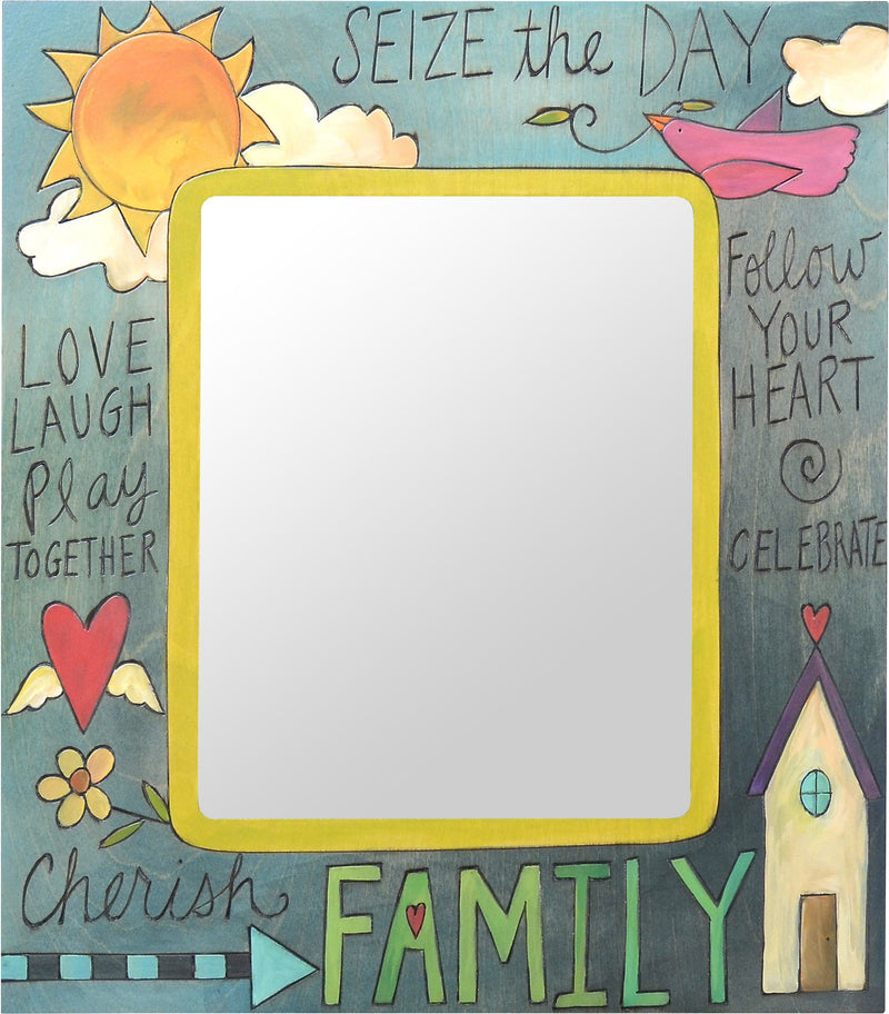 "8""x10"" Frame –  Blue sun and heart home picture frame with inspirational phrases"