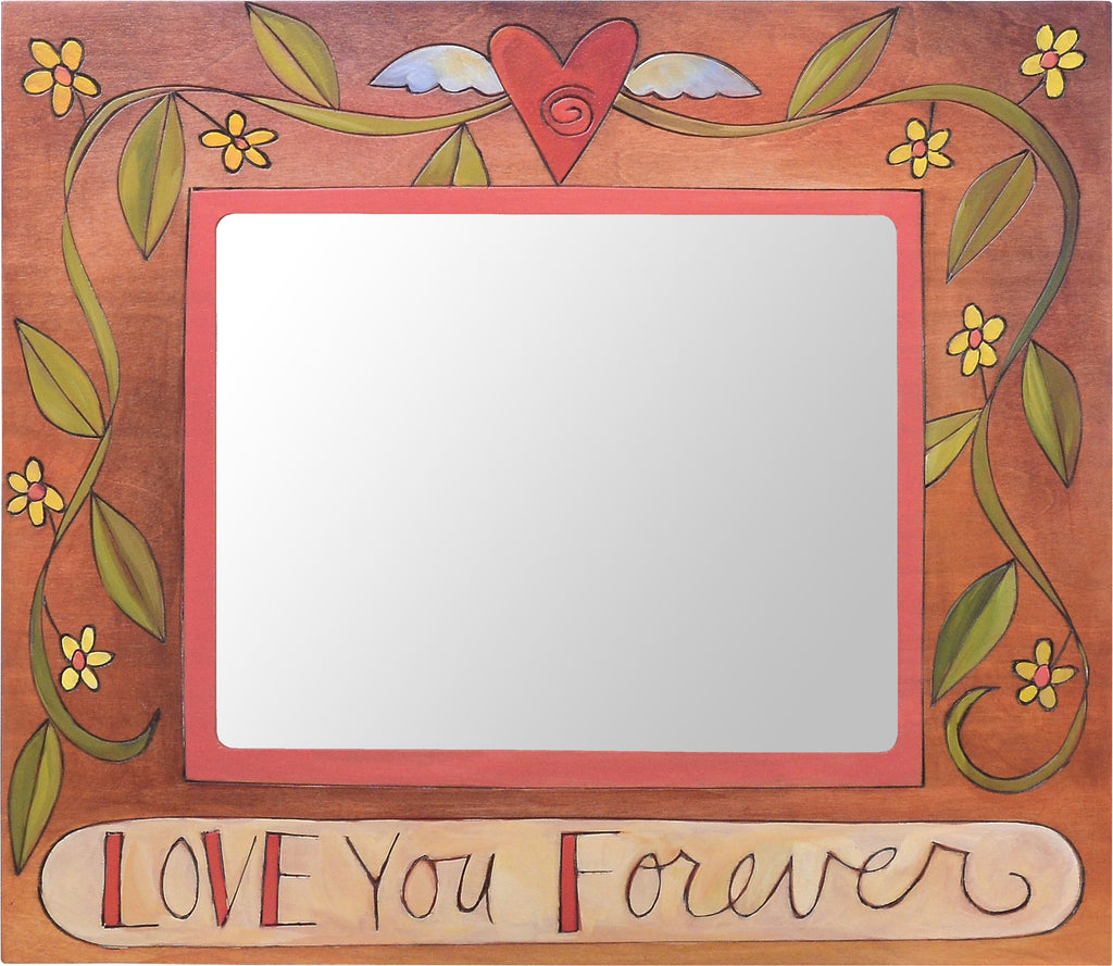"8""x10"" Frame –  ""Love You Forever"" pink and red picture frame with vines and flowers"