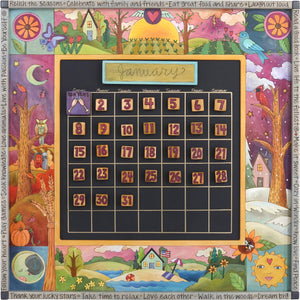 "Large Perpetual Calendar –  ""Relish the Seasons"" perpetual calendar with scenes of the four seasons motif"