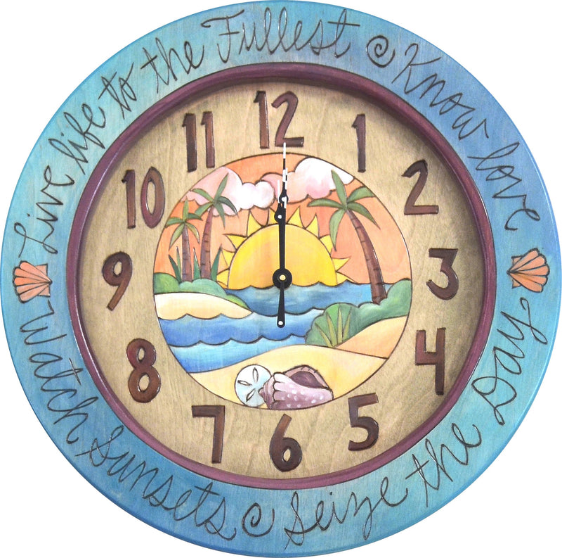 "14"" Round Wall Clock –  Beach themed wall clock with sunset and shells"