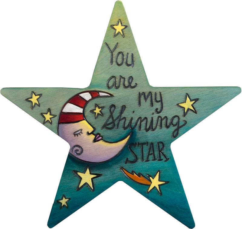 "Star Shaped Plaque –  The night sky fills this star plaque with the sweet sentiment ""You are my shining star"""