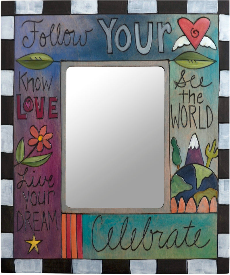 "Sticks handmade 5x7"" picture frame with follow your heart theme"