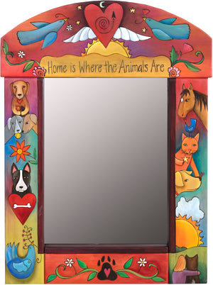 """Home is where the animals are"" floating icon motif mirror with dogs, cats, birds, and even a horse"