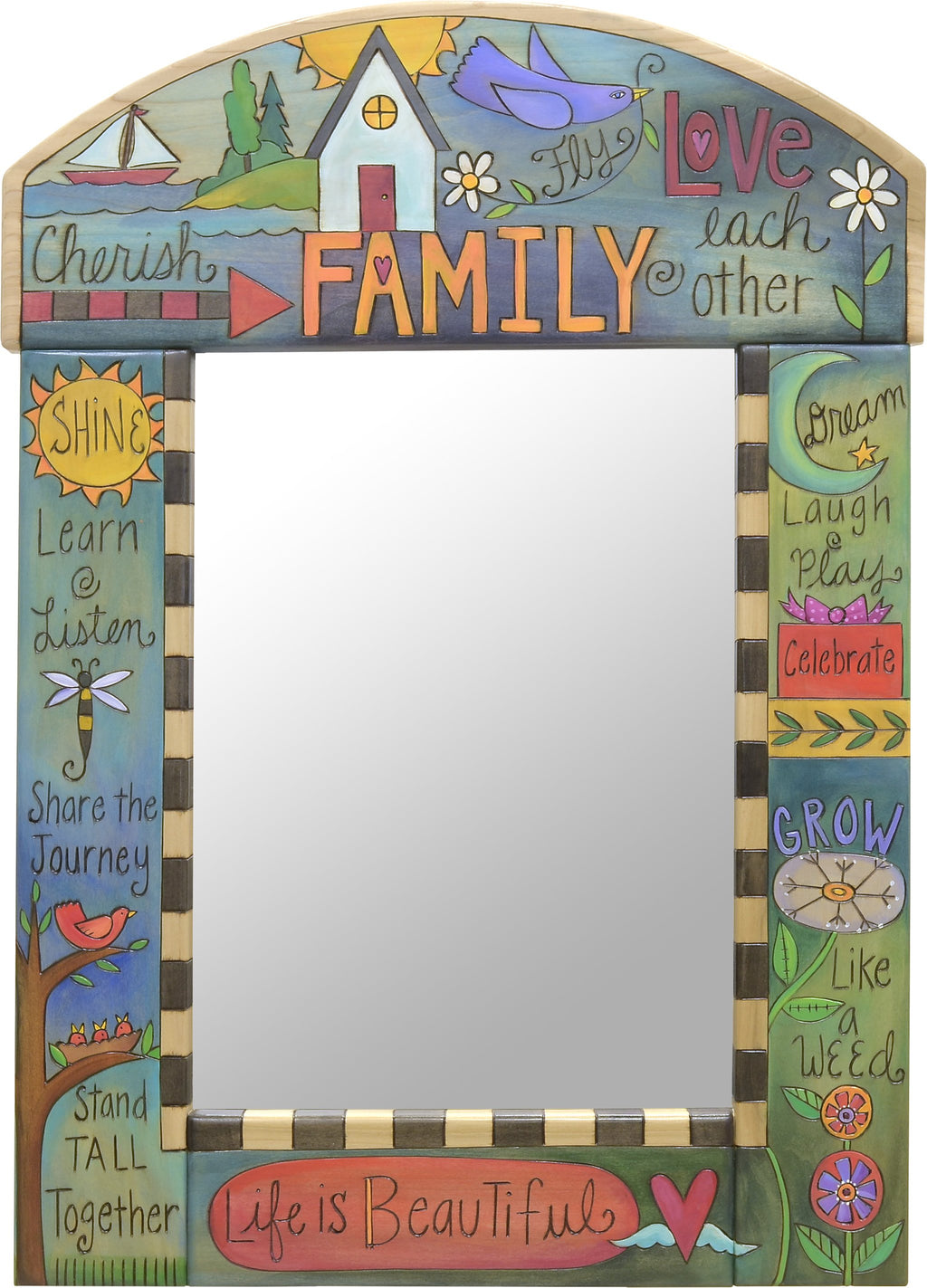 "Medium Mirror –  ""Cherish Family/Love Each Other"" mirror with home and sailboat motif"