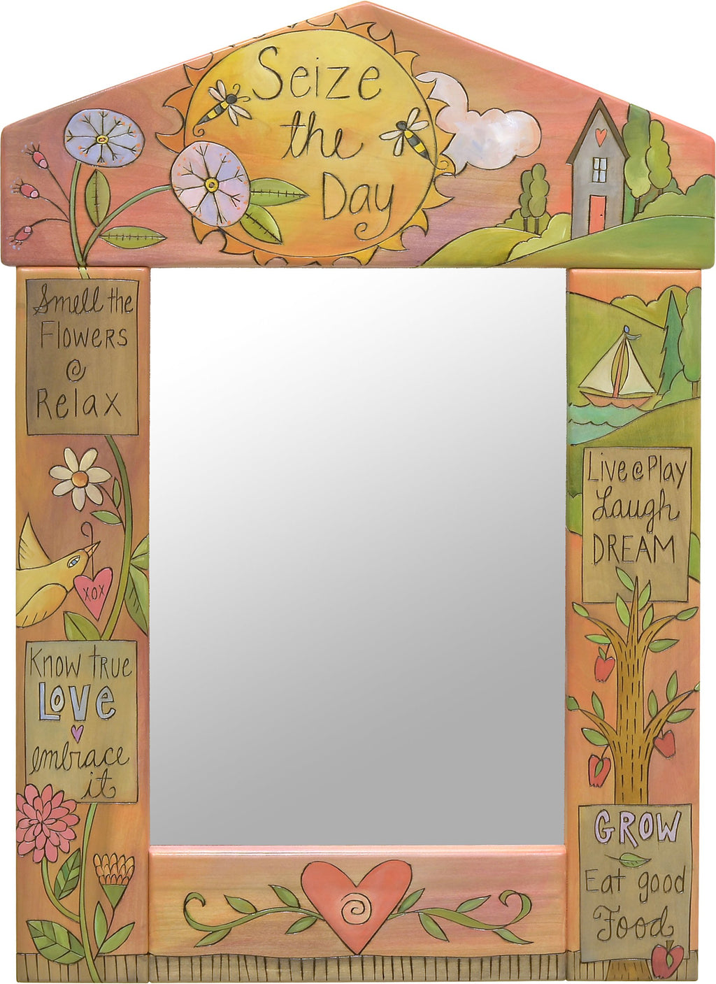 "Medium Mirror –  ""Seize the Day"" mirror with pastel flower and home in the hills motif"