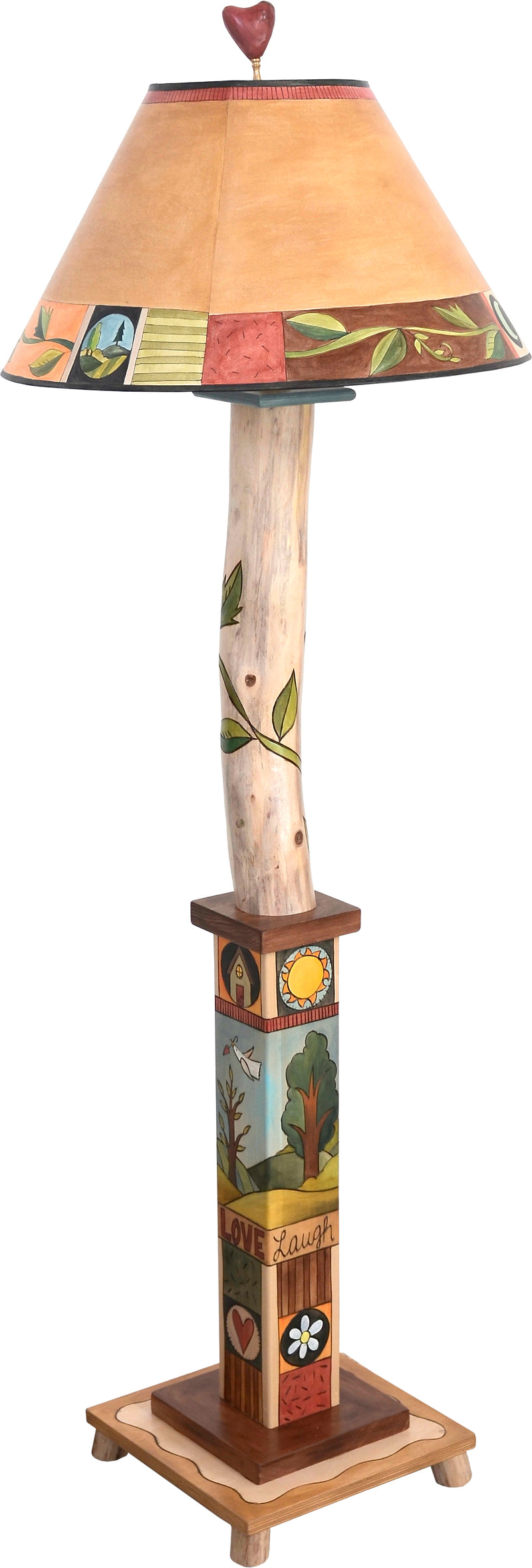 Box and Log Floor Lamp –  Beautiful folk art floor lamp with vine motifs and landscapes