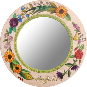Large Circle Mirror –  Beautiful neutral birch mirror with vibrant floral motifs