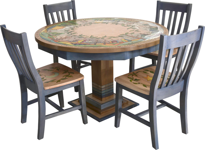 Sticks handmade dining table with lovely four seasons landscape and matching chairs