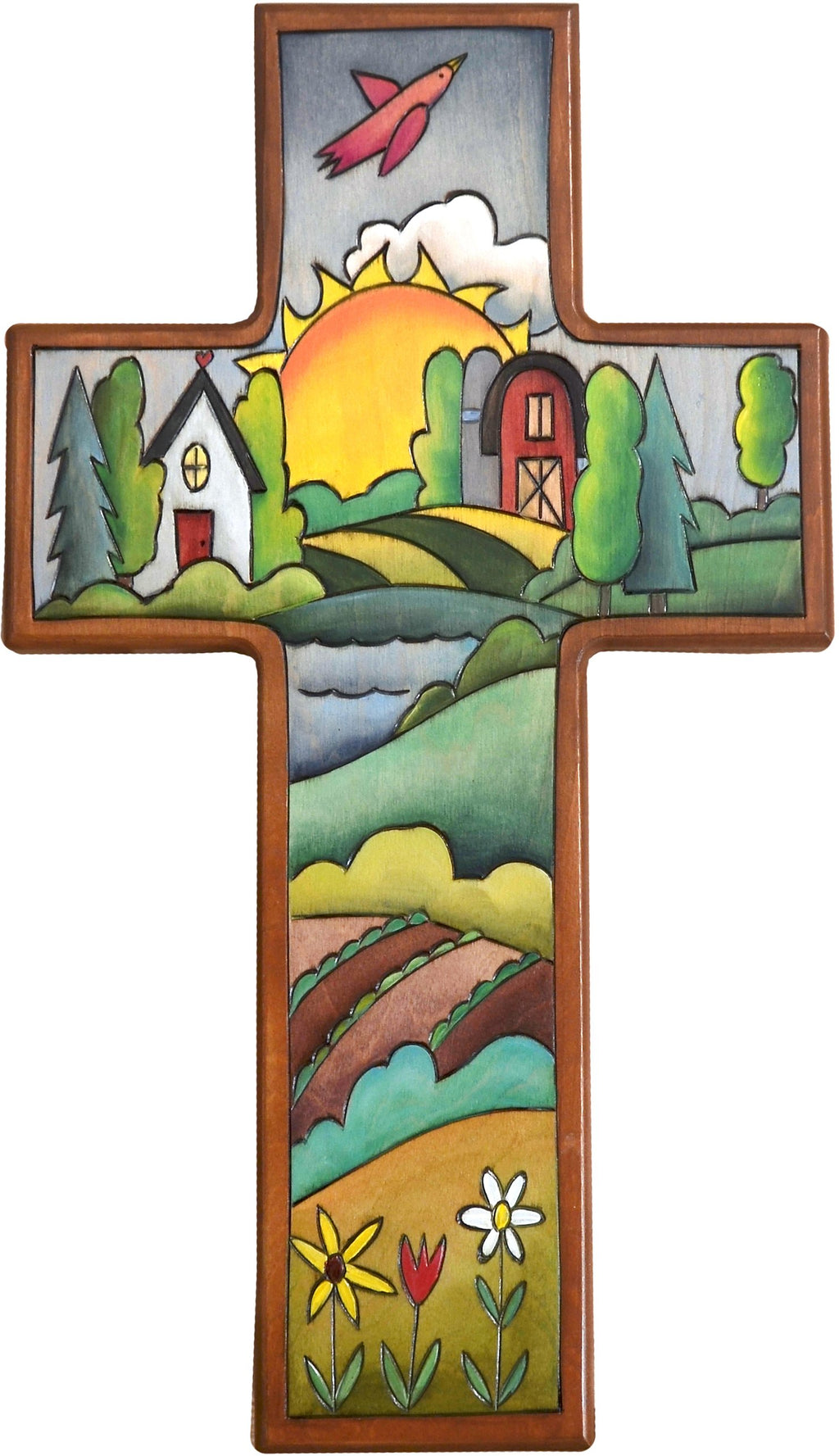 Cross Plaque –  Cross Plaque with home and barn and sunset on the horizon