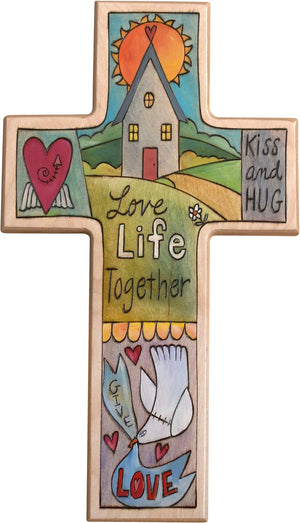 Cross Plaque –  Love Life Together cross plaque with home and sun on the horizon motif