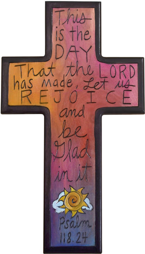 Cross Plaque –  Psalm 118.24 cross plaque with pink themed motif with sun