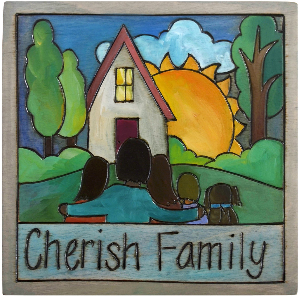 "7""x7"" Plaque –  Elegant landscape plaque with heart home, sunrise and family with a dog, ""Cherish Family"""