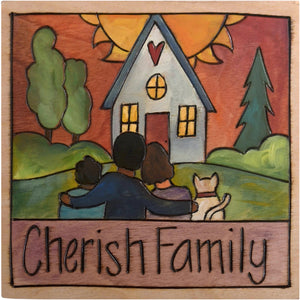 "Sticks handmade wall plaque with ""Cherish Family"" quote and family with cat in front of their home imagery"