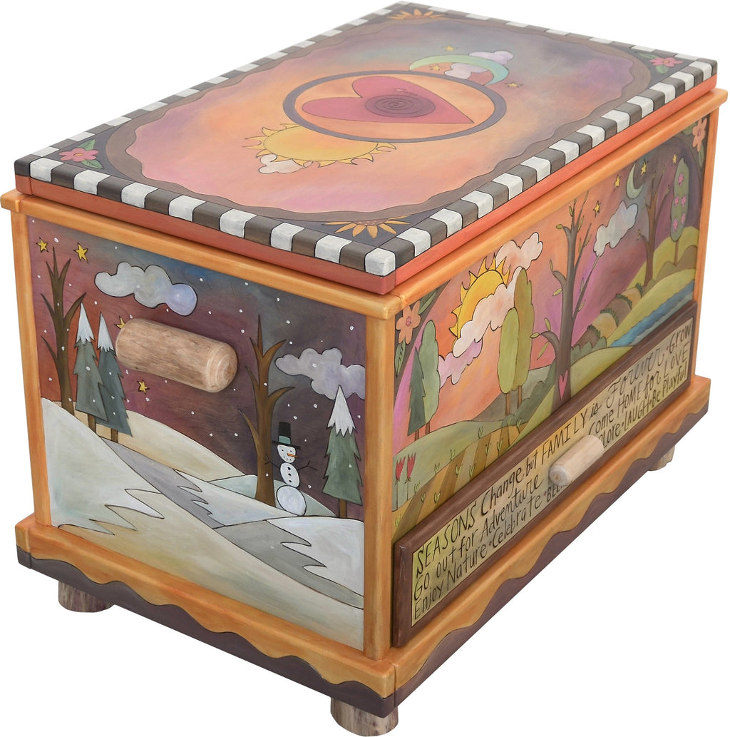 "Chest with Drawer –  ""Seasons Change but Family is Forever"" chest with drawer with four seasons, sun and moon motif"