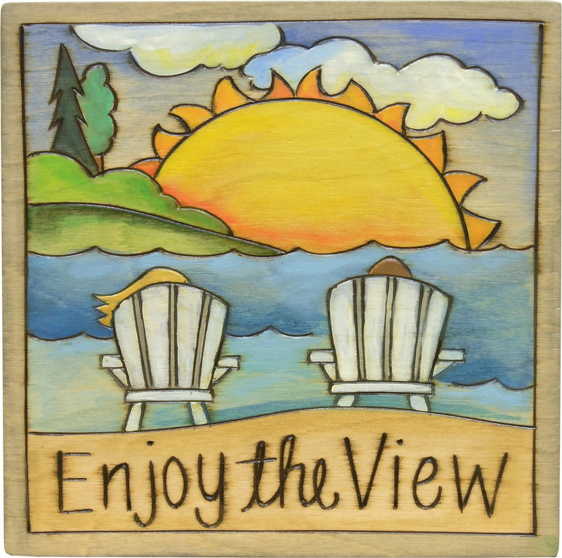 "7""x7"" Plaque –  Lovely sunrise at the beach plaque, ""Enjoy the View"""