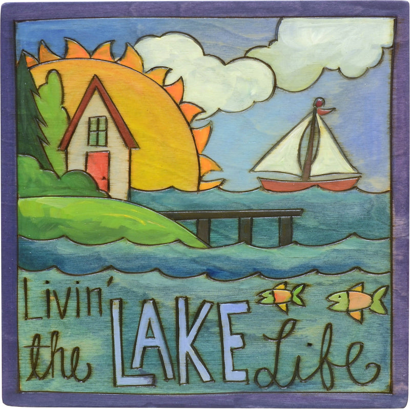 "Sticks handmade wall plaque with ""Livin' the Lake Life"" quote, house, dock, fish and sailboat imagery"
