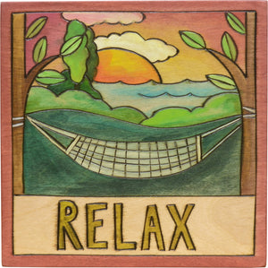"Sticks handmade wall plaque with ""Relax"" quote, hammock and park with water imagery"