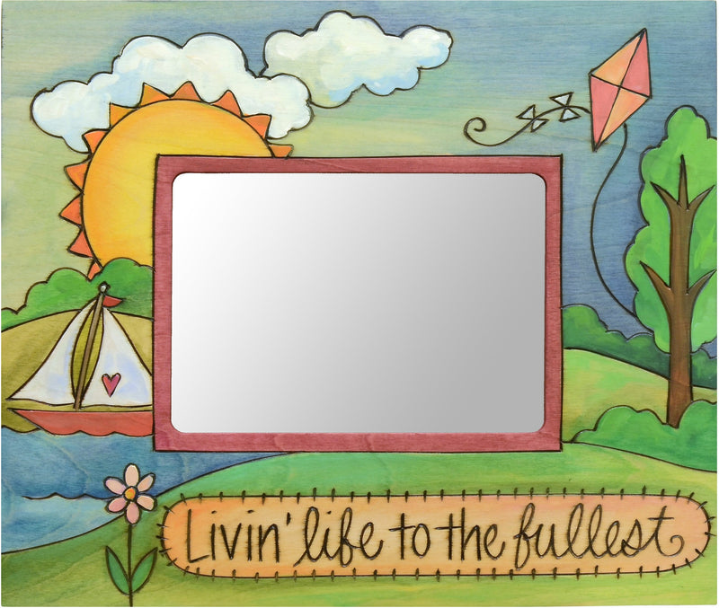 "Sticks handmade 5x7"" picture frame with rolling landscape and sailboat"