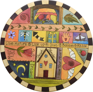"Sticks Handmade 20""D lazy susan with crazy quilt design and colorful life icons"