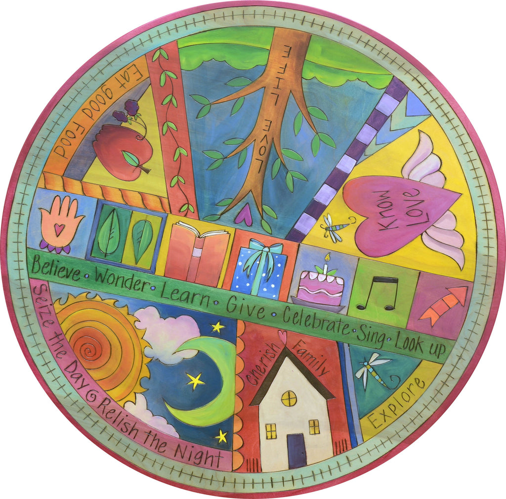 "Sticks Handmade 24""D lazy susan with crazy quilt design and colorful life icons"