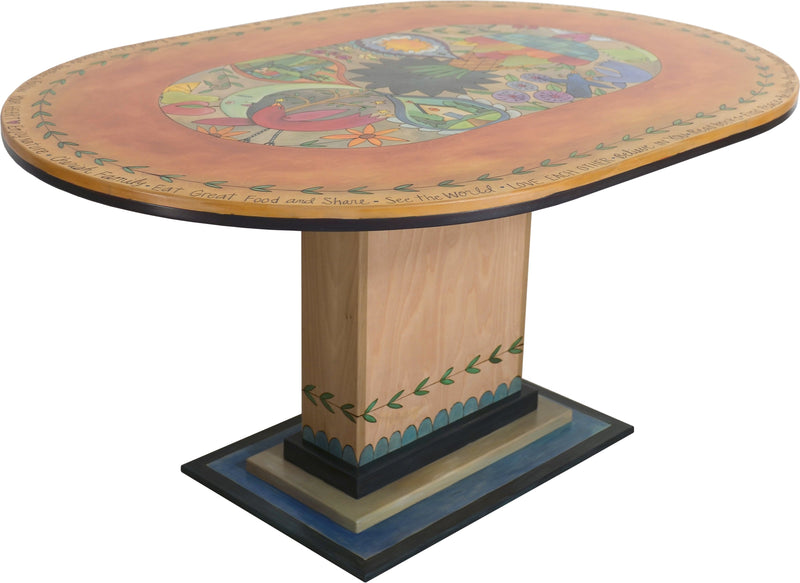 "Oval Dining Table –  ""At this Moment, At this Time, Life is Beautiful"" dining table with bohemian motif"