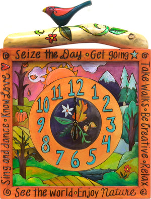 Square Wall Clock –  Seize the day with this four seasons design wall clock