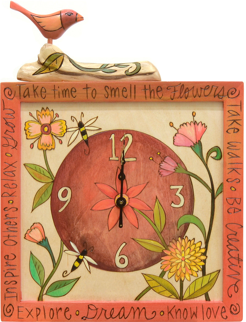 Square Wall Clock –  A contemporary floral motif in a light, bright color palette