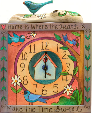 Square Wall Clock –  Lovely wall clock with bird elements and garden landscape
