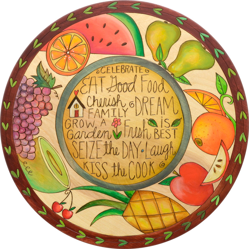 "Sticks Handmade 20""D lazy susan with fruit and inspirational words"