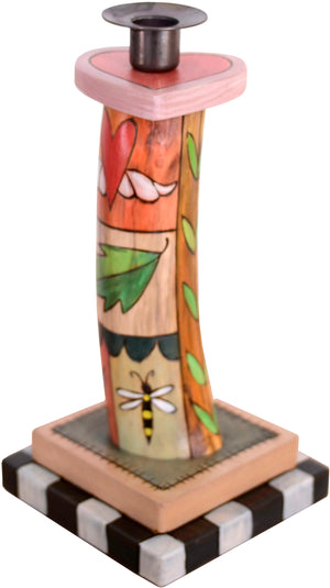 Single Candle Holder –  A lovely crazy quilt single candle holder