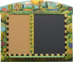 Large Activity Board –  Energetic and colorful cork and chalkboard with rolling landscapes and floral motifs