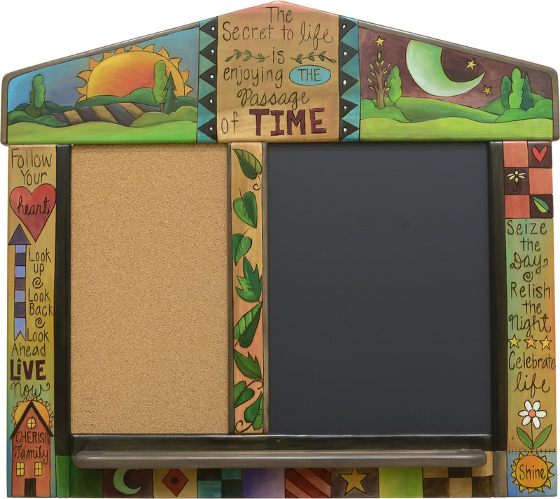 Small Activity Board –  Fun and useful cork and magnetic chalkboard with colorful block icons and sun and moon motif