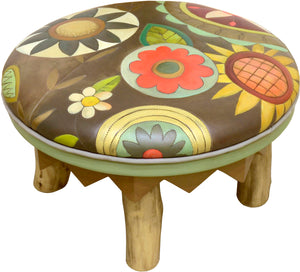 Round Ottoman –  Cute contemporary floral ottoman design with driftwood log legs main view