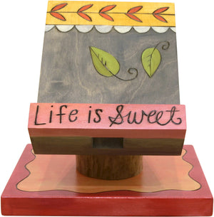 "Cookbook and Tablet Stand –  Lovely pastel toned recipe holder with vine motifs, ""Life is Sweet"""