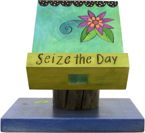 "Cookbook and Tablet Stand –  Lovely and colorful recipe holder with floral motifs, ""Seize the Day"""