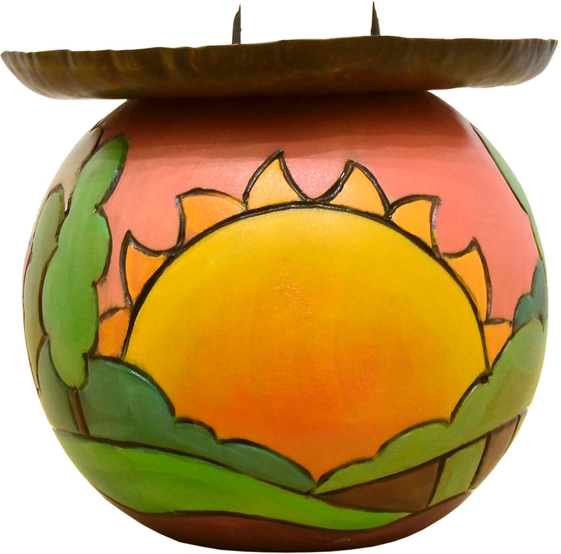 Ball Candle Holder –  A warm landscape painted candle base