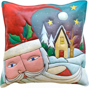 Leather Pillow –  Jolly Santa stopping by the homes of good boys and girls