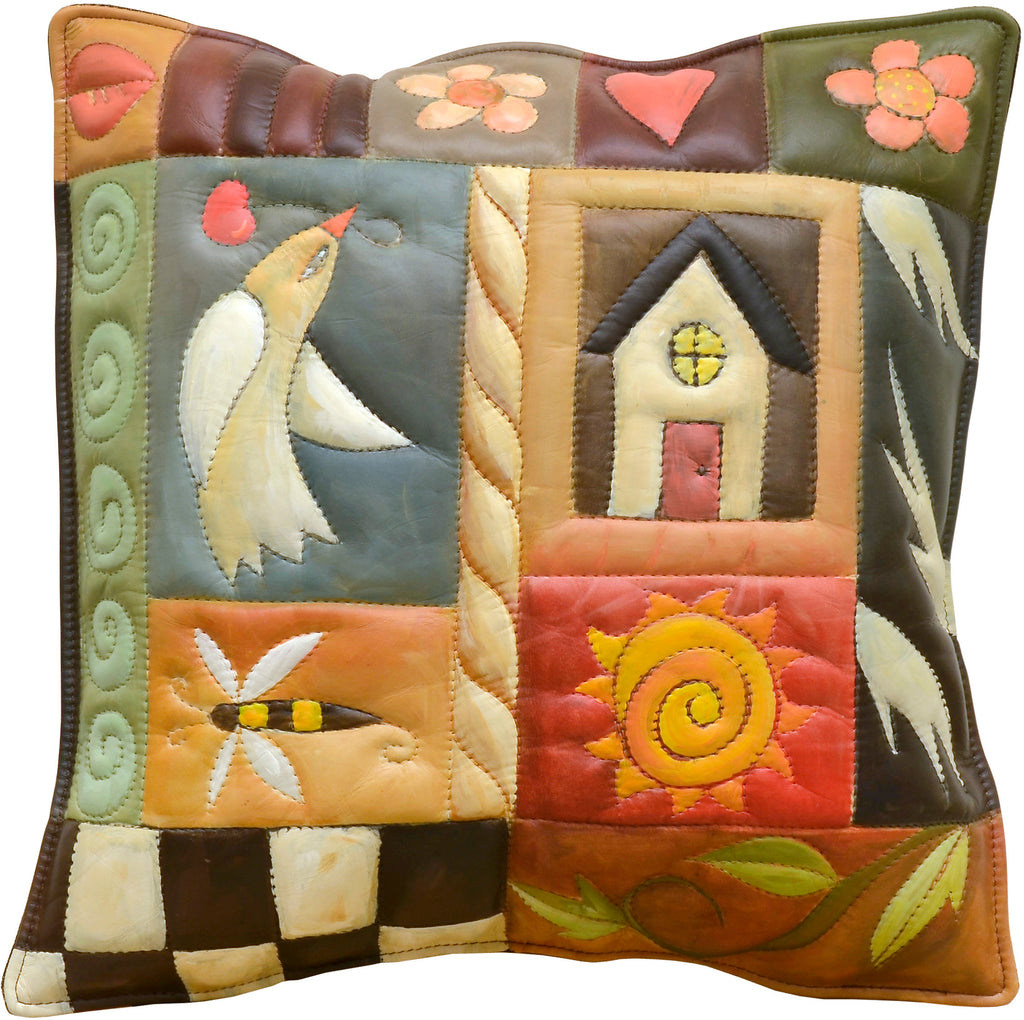 Leather Pillow –  This crazy quilt motif features a peace dove, bee, home, and sun