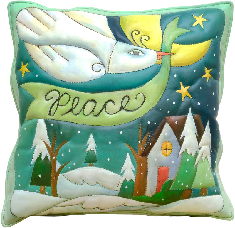 Leather Pillow –  A peace dove soars over a snow-covered home
