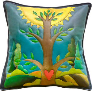 Leather Pillow –  A bright tree of life fills this pillow front