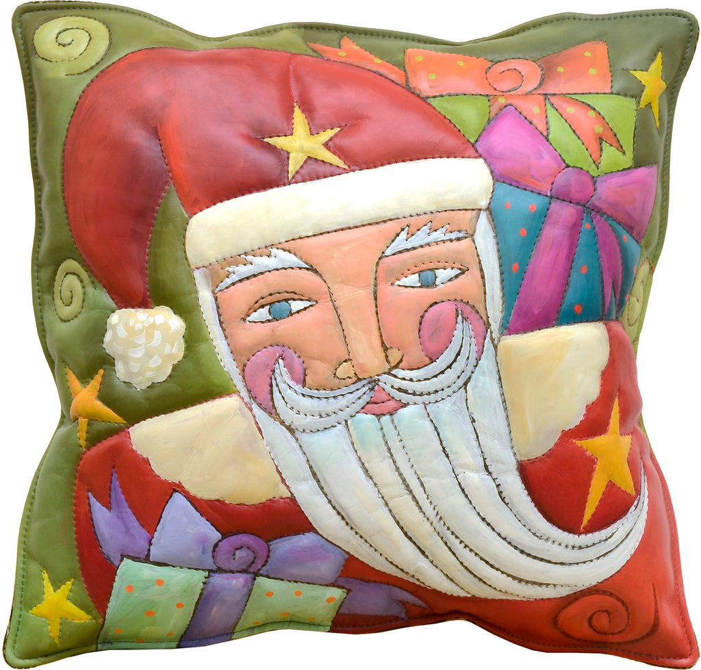 Leather Pillow –  A holiday motif of Santa surrounded by gifts