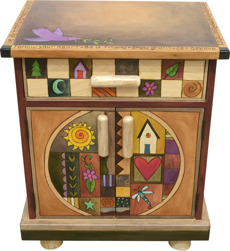 Nightstand Cabinet –  Elegant and neutral nightstand cabinet with color block symbols and a tree of life on each side with respective sun and moon motif