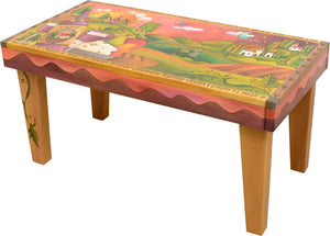 Sticks handmade 3' bench with Tuscan wine country scene