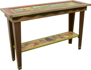 Sticks handmade sofa table with rolling landscape and grape vine