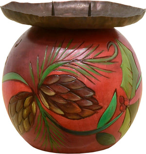 Red pine cone and holly vine candle ball holder