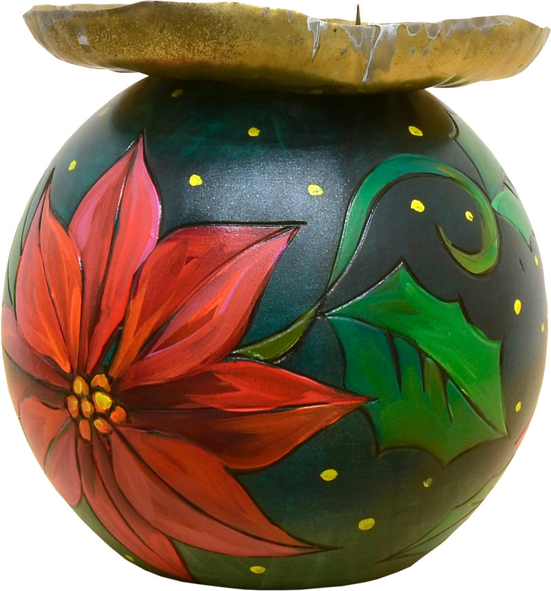 Ball Candle Holder –  Beautifully painted poinsettias surround this ball candle holder