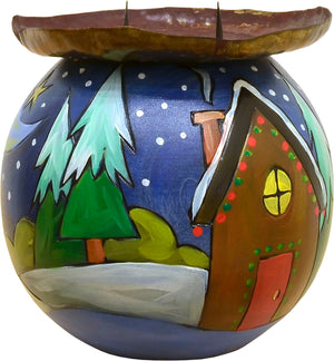 Ball Candle Holder –  A winter-y landscape motif with a Holiday home