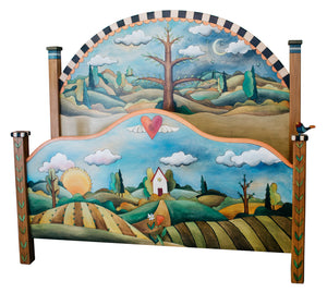 Queen Bed –  A lovely landscape design features a home on the footboard and tree of life on the headboard